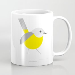 Bird, yellow robin, geometric & minimalism Coffee Mug