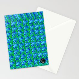 Cannabis Print Green and Blue Stationery Cards
