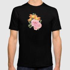 Summer Floral Black MEDIUM Mens Fitted Tee