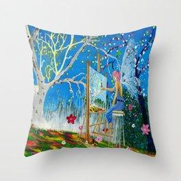 Fairy Artist Throw Pillow