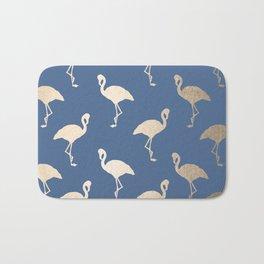 Gold Flamingo on Aegean Blue Bath Mat