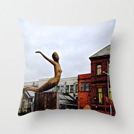She Flies Across Belfast Throw Pillow