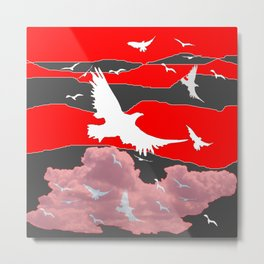 WHITE BIRDS IN FLIGHT RED-GREY SKY ABSTRACT Metal Print