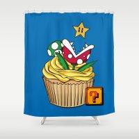 super mario Shower Curtains featuring Super Mario Cupcake by Juliet García
