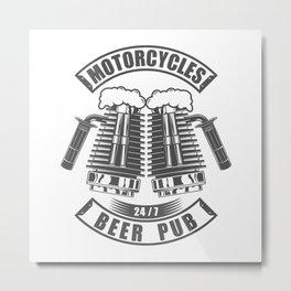 Beer pub emblem in vintage monochrome motorcycle style Metal Print