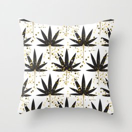 Stylized black palm leaves Throw Pillow