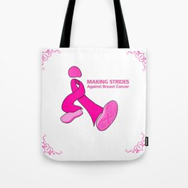 Cancer walk ribbon with shoe tread Tote Bag