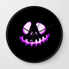 halloween. Jack O Lantern Purple Wall Clock