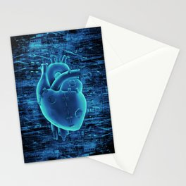Gamer Heart BLUE TECH / 3D render of mechanical heart Stationery Cards