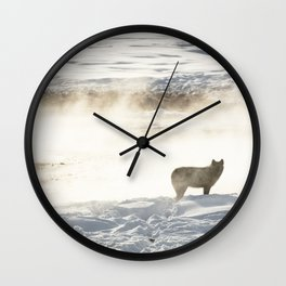 Yellowstone National Park - Wolf and Hot Spring Wall Clock