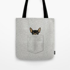 Pocket Chihuahua - Black Tote Bag