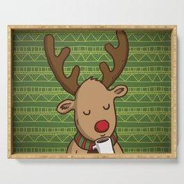 Christmas Deer Enjoying with Coffee Serving Tray