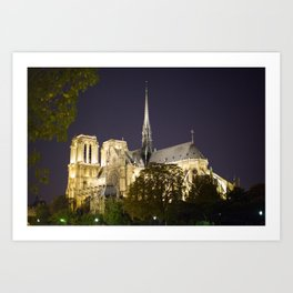 Notre Dame at Night Art Print