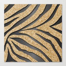 Gold Glitter Zebra Stripes on Dark Metallic Canvas Print