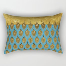 Blue and Gold Mermaid Scales Dreams Rectangular Pillow