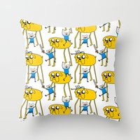 finn and jake Throw Pillows featuring Adventure Time - Jake & Finn by www.Lusy.ink