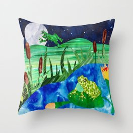 Frog Pond Throw Pillow