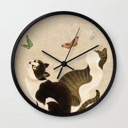 Minhwa: cats & butterflies (Korean traditional/folk art)  Wall Clock