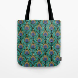 Glitzy Peacock Feathers Tote Bag