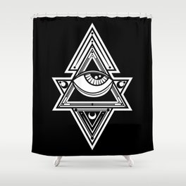 The All Seeing Eye Roll - White Night Shower Curtain