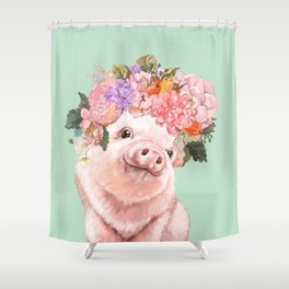 Baby Pig with Flowers Crown in Pastel Green Shower Curtain
