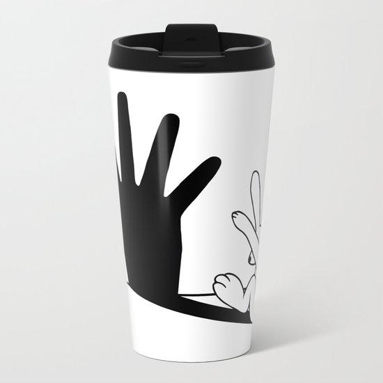 Rabbit Hand Shadow Metal Travel Mug