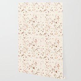 Rose Gold and Cream Terrazzo Wallpaper