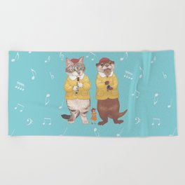 A GIRL WITH CAT and OTTER wide Beach Towel
