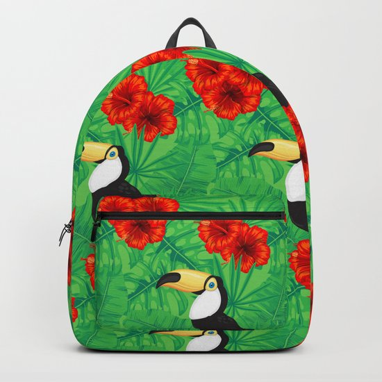 Tropical pattern with toucan and  tropical leaves Backpack