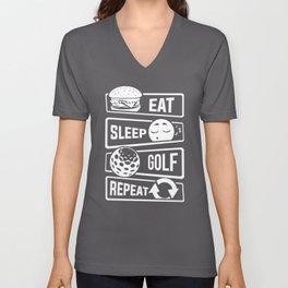 Eat Sleep Golf Repeat - Golf Ball Golf Course Putt Unisex V-Neck