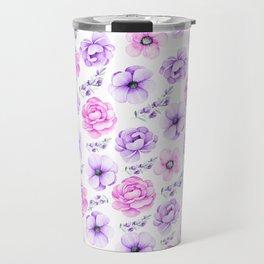Modern hand painted purple pink watercolor floral pattern Travel Mug
