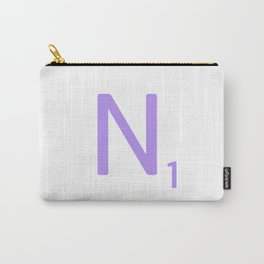 Purple Letter N Monogram Scrabble Carry-All Pouch