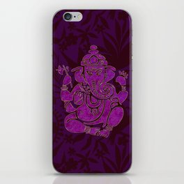 Ganesha Elephant God Purple And Pink iPhone Skin