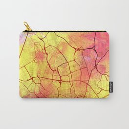 Frankfurt Germany Street Map Art Watercolor Yellow Light Carry-All Pouch