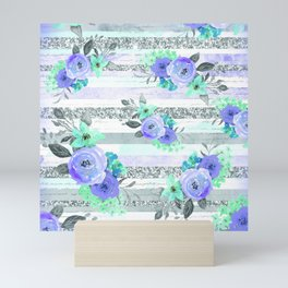 Sparkle Purple and Aqua Florals With Background Stripes Mini Art Print