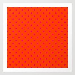 Orange Pop and Hot Neon Pink Polka Dots Art Print