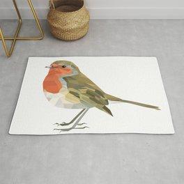 Geometric Robin artwork Bird Rug