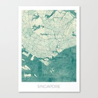 singapore Canvas Prints featuring Singapore Map Blue Vintage by City Art Posters