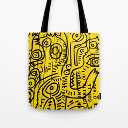 Yellow Street Art Graffiti Train Ticket Tote Bag