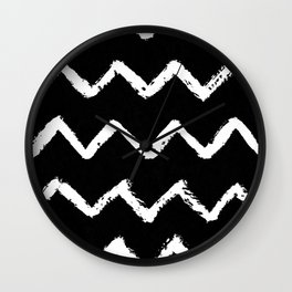 Chevron Stripes White on Black Wall Clock