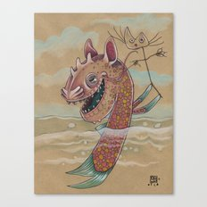 SWIMMING WITH PUPPETS Canvas Print