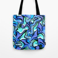 percy jackson Tote Bags featuring Design PERCY abstract,blue by MehrFarbeimLeben