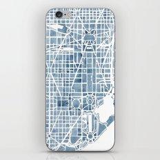 Washington DC Blueprint watercolor map iPhone & iPod Skin