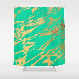 Gold Bright Teal Marble Stone Modern Pattern Shower Curtain