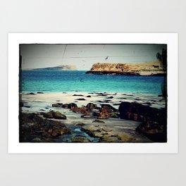 Dinosaur Beach - Retro look fine art canvas print Art Print