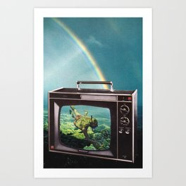 Tune in for more adventure, vintage collage with diving lady Art Print