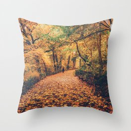 Autumn Walk New York City Throw Pillow
