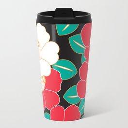 Japanese Style Camellia - Red and Black Travel Mug