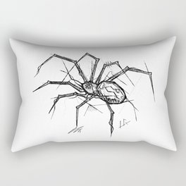 Spider Handmade Drawing, Made in pencil and ink, Tattoo Sketch, Tattoo Flash, Blackwork Rectangular Pillow