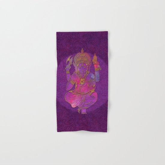 Ganesha hindu god watercolor gold purple art Hand & Bath Towel